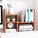 Jerry & Maggie - Desktop Organizer Office Storage Rack Adjustable Wood Display Shelf | Birthday Gifts - Toy - Home Decor | - Free Style Rotation Display - True Natural Stand Shelf (Natrual Wood Tone)