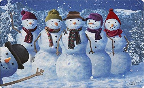 Toland Home Garden Snowman Photobomb 18 x 30 Inch Decorative Winter Floor Mat Funny Photo Doormat - 800302