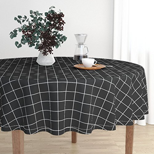 Roostery Round Tablecloth - Black and White Grid Squares Check Black White Windowpane by Peacoquettedesigns - Cotton Sateen Tablecloth 70in -