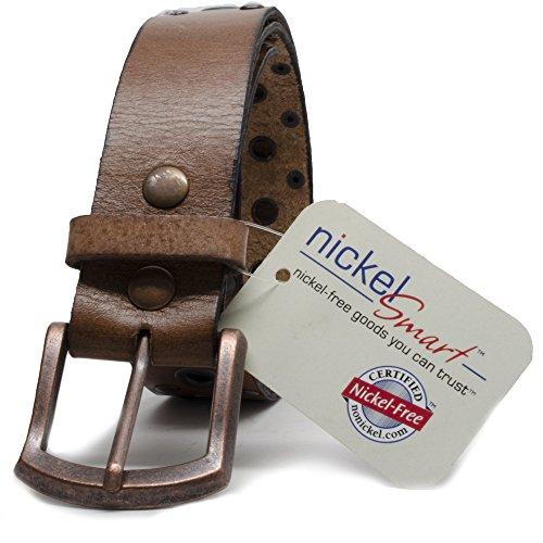"Nickel Free Genuine Leather Studded Belt, Brown-32"""
