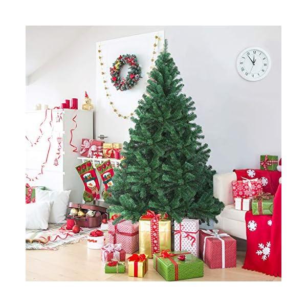 OUSFOT Albero di Natale 180cm con Custodia 800 Rami Supporto Pieghevole in Metallo Alberi di Natale Artificiale PVC Facile da Montare per Natalizie Decorazioni da Interno e All'aperto 2 spesavip