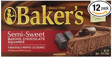 Amazon Com Baker S Baking Chocolate Semi Sweet 8 Ounce Packages Pack Of 12 Grocery Gourmet Food