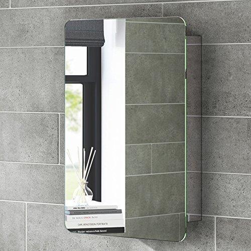 soak Armadietto da Bagno con Specchio, Anta Scorrevole, Design Moderno, in Acciaio Inox, 660 x 460 mm iBathUK