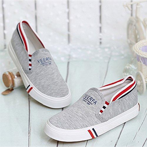 Minetom Mujer Verano Otoño Lona Zapatos Moda Mocasín Zapatos Ocio Aptitud Alpargatas Gris