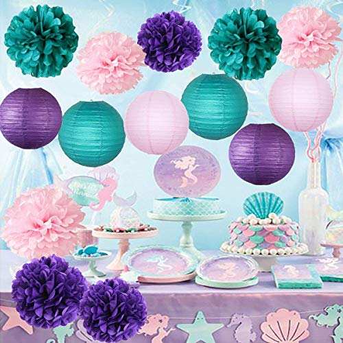 (Furuix Mermaid Baby Shower Decorations/Mermaid Party Decor/Purple Teal Pink Party Decorations Purple Teal Paper Pom Pom Paper Lanterns Little Mermaid Party Decorations/Mermaid Bridal Shower)