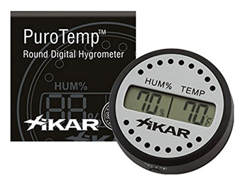 Xikar PuroTemp Round Digital Hygrometer, 10 Second Refresh Rate, Brushed Aluminum
