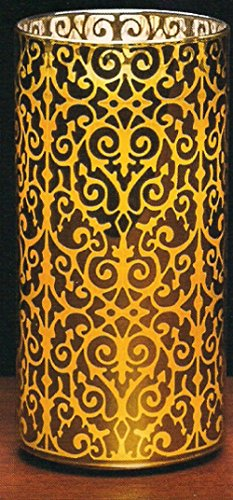 Glass Luminary - Sterno Home Candle Impressions by Scroll Gold Glass Luminary with Programmable Timer, 7