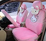 18pcs Ice Silk Universal Car Seat Covers Front and Rear Seat Covers Car Steering Wheel Cover (Pink)