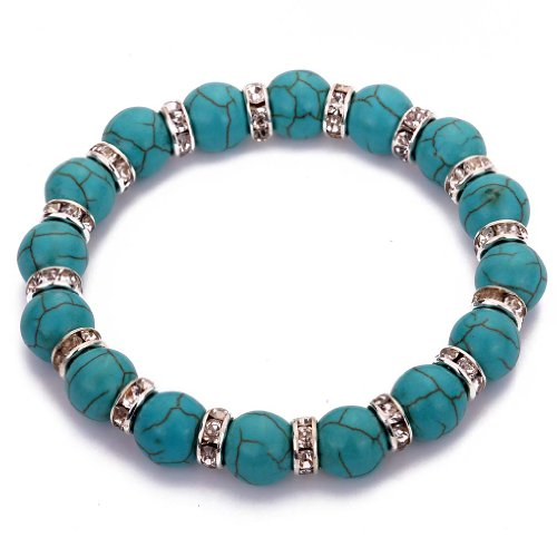 YAZILIND Tibetan Silver Rhinestones Round Rimous Turquoise Stretch Bangle Bracelet for Women