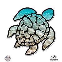 """Sea Turtle Beach Ocean - 3"""" Vinyl Sticker - For Car Laptop I-Pad Phone Helmet Hard Hat - Waterproof Decal"""