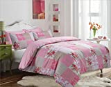 The Kingsford Everyday Luxury 7 piece Reversible Duvet Cover set with 2 Pillow Cases, 2 pillow shams & 2 Zippered pillow protectors, Egyptian Cotton Rich Percale Vintage Patchwork Pink Queen