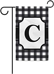 BAGEYOU Monogram Initial C Checkers Plaid Lattice Decorative Garden Flag for Outside Housewarming Gifts 12.5X18 Inch Printed Double Sided