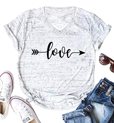JINTING Cute Graphic Tee Shirts for Women Teen Girls Junior Short Sleeve Letter Print Casual Tee Shirts Top with Sayings Gray