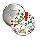 Portugal Landscap Animals National Flag Round Bottle Opener Refrigerator Magnet Pins Badge Button Gift 3pcs
