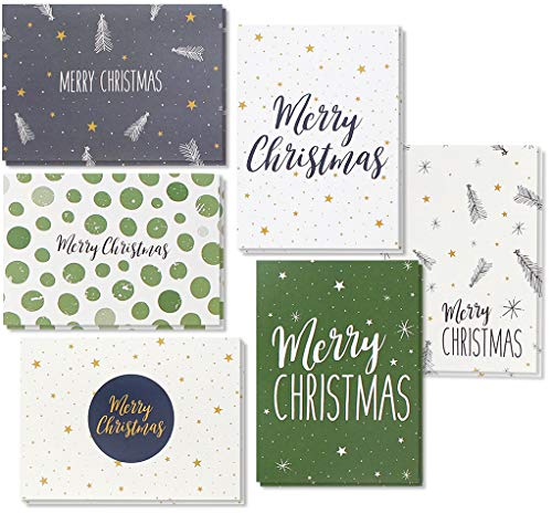 Nice Stationery - 48 Pack of Christmas Winter Holiday Family Greeting Cards Green and Cream Merry Christmas Festive Designs Boxed with 48 Count White Envelopes Included 4.5 x 6.25 Inches