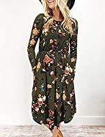EMVANV Women's Casual Swing Pleated Long Sleeve Floral Tshirt Dress with Pocket