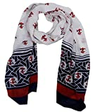 Peach Couture Nautical Anchor Patriotic All American Navy Scarf Wrap Shawl (White/Red/Blue)