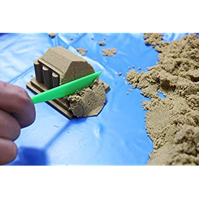 FYZ Brothers Sand Kit with Inflatable Tray, 46 Molds, 5 Tools, Inflator, Shovel and Storage Box, 2-1/5 lb Beige Sand