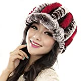 Handmade Hat, ღ Ninasill ღ Exclusive Warm Caps Female Headgear (Red)