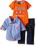 U.S. Polo Assn. Baby Boys' 3 Piece Long Sleeve Fancy Sport Shirt, T-Shirt Or Creeper, and Denim Jean Set, Orange/Blue Plaid/Creeper, 12 Months