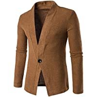 Ninasill Mens Autumn And Winter Slim Fit Long Sleeve Solid Knitting Blouse Tops Coat (XL, Brown)