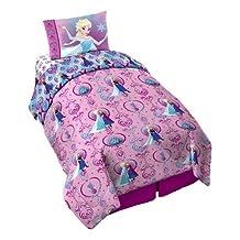 "Disney FROZEN ""Floral Frost"" 4 PC Bed in a Bag, with Bonus Bag Comforter Set"