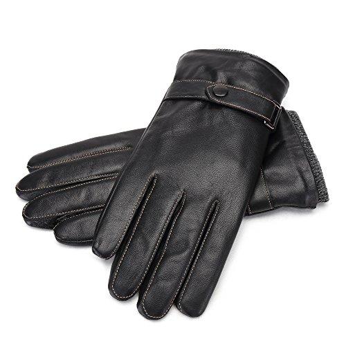 BISON DENIM Men's Genuine Leather Gloves Touchscreen Winter Warm Driving Cashmere Cuff Gloves for Texting Driving Black from BISON DENIM