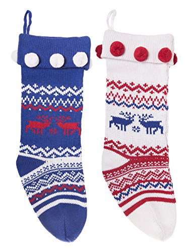 (Knitted Christmas Stockings Traditional Holiday Season Santa Socks Classic Sweater Deer Pattern Scandinavian Decoration for Mantel & Staircase Gift Holder in Blue, White & Red Colors with - Set of)