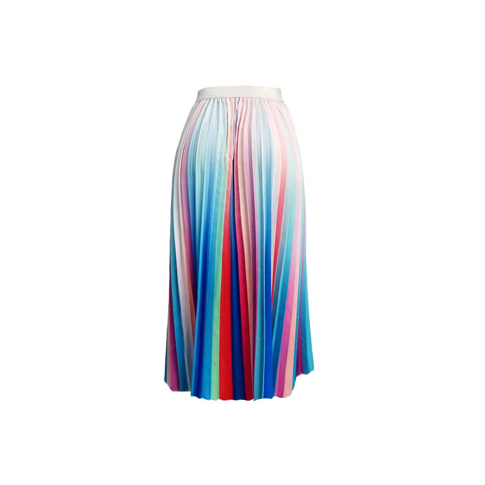 Dreamparis Women's High Waist Pleated Skirts - Casual Summer Multicolor Elastic Waist Swing A-Line Pleated Midi Skirt Medium Multicolor-1