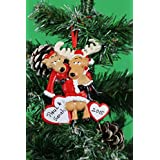 Personalized Christmas Tree Decoration Ornament Santa Deer Couple -Get your desired names on the items- A perfect Christmas gift by Frame Company
