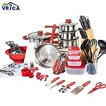 VEICA 2018 Panelas De Ceramica Arrival Fda Top Fashion Real Cookware Cooking Pots And Pans Set 80 Piece Kitchen Starter Combo Utensil