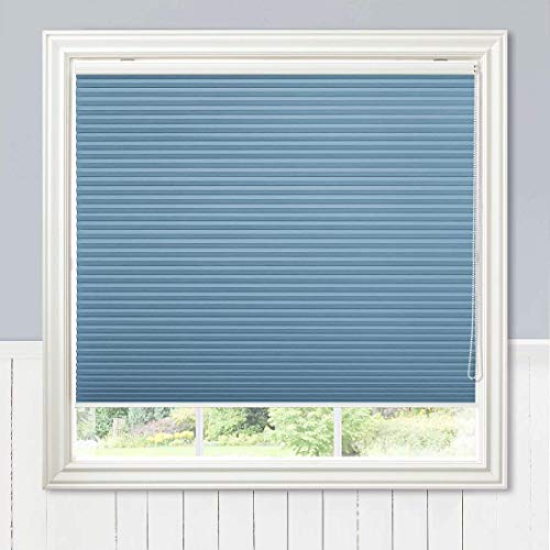 Keego Blackout Cellular Shades with Cord, Custom Size Window Blinds, Blue, 32″ W x 64″ H, Corded Room Darkening Honeycomb Blinds, Backside in White