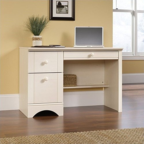 sauder harbor view computer desk antiqued white finish - Computer Desk For Small Spaces