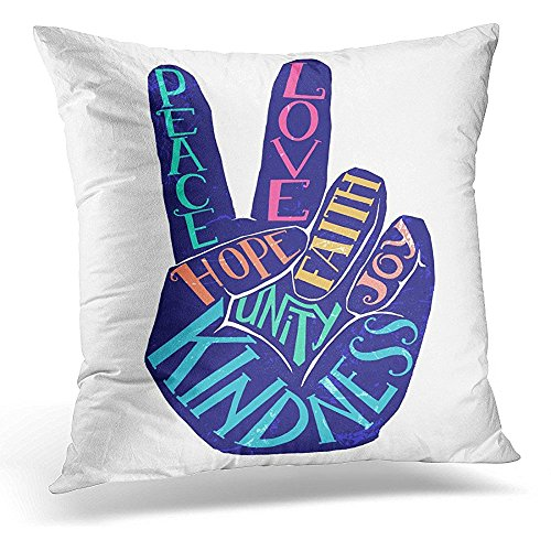 Throw Pillow Cover Peace Sign Creative Lettering Design Perfect Hand Silhouette with Words Love Faith Unity Joy Kindness Decorative Pillow Case Home Decor Square 16x16 Inches Pillowcase by Starobos