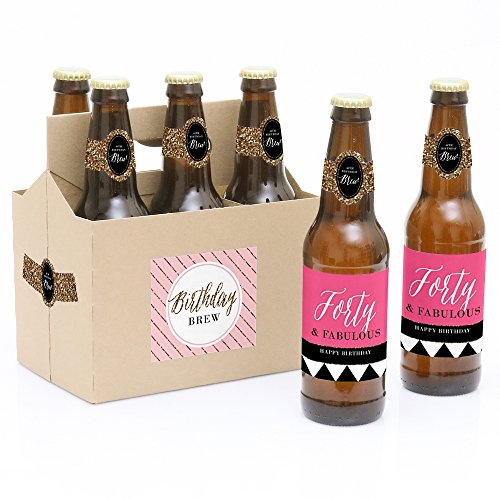 Black Label Beer - Chic 40th Birthday - Pink, Black and Gold - 6 Beer Bottle Labels with 1 Beer Carrier