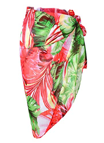 CHIC DIARY Women Chiffon Pareo Beach Wrap Sarong Swimsuit Scarf Cover Up for Vacation(Green)]()