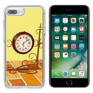 Liili Apple iPhone 7 plus/8 plus Clear case Soft TPU Rubber Silicone Bumper Snap Cases iPhone7 plus/8 plus IMAGE ID 32976745 Vintage watch and wall with empty space on yellow background