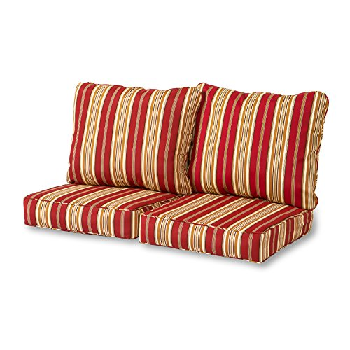 Greendale Home Fashions Deep Seat Loveseat Cushion Set, Roma Stripe (Cushion Seat Deep Outdoor)