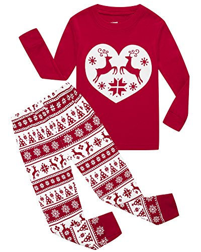 Girls Pajamas 100% Cotton Reindeer Toddler Clothes Kids Christmas Pjs Children Sleepwear Size (Girls Size 12 Christmas Pajamas)