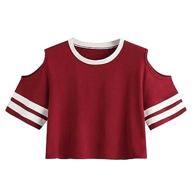 741fa49d392939 HGWXX7 Women Casual Off Shoulder Short Sleeve O-Neck Red Blouse Short T- Shirt