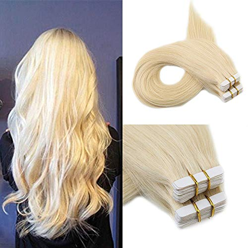 Full Shine Remy Tape Extensions Double Sided Glue Hair Extensions 12 Inch Short Color #60 Platinum Blonde Straight Tape In Human Hair Tape In Hair Extensions 100% Real Hair 30G