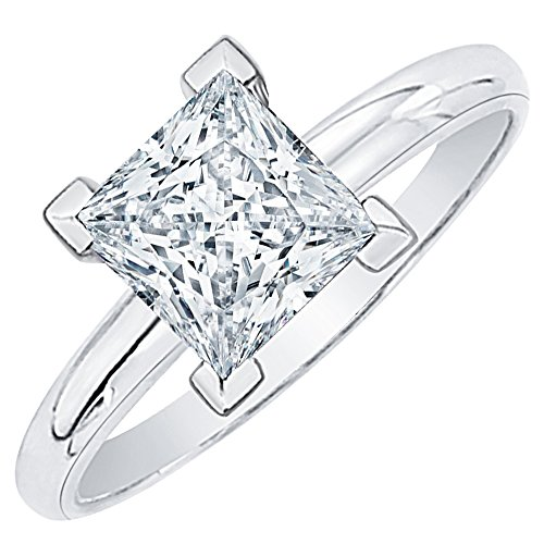 - 3/4 ct. K - VVS2 Princess Cut Diamond Solitaire Engagement Ring in 14k White Gold (Size-6)