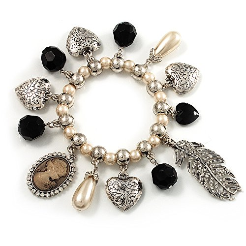 Avalaya 'Cameo, Feather, Heart & Simulated Pearl Beads' Charm Flex Bracelet (Silver Tone)