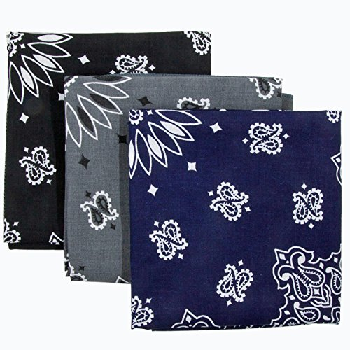 Bandana 3-Pack - Made in USA For 70 Years - Sold by Vets – 100% Cotton –Sewn Edges (Black, Charcoal, Navy)