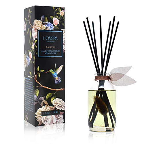 LOVSPA Santal (Sandalwood) Reed Diffuser Oil and Sticks Set | A Warm, Earthy & Woody Aroma | Made with Essential Oils & Real Botanicals | Makes a Great Housewarming Gift! -