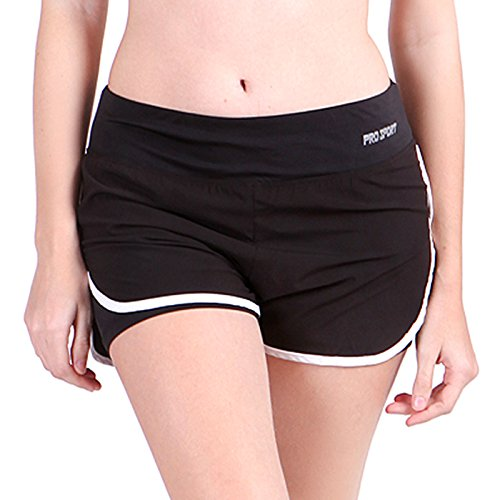 HDE Women's Running Shorts with Inner Compression Moisture Wicking Athletic Gym (Black...