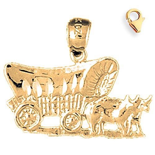 - Jewels Obsession Horse & Wagon Charm | 14K Yellow Gold Horse & Wagon Charm Pendant - 19mm