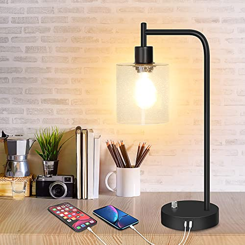 Industrial Table Lamp, Totofac Fully Stepless Dimmable Bedside Nightstand Desk Lamps with USB Ports & Type C Ports, Seeded Glass Shade Bedside Reading Lamp for Bedroom, Living Room,Bulb Included