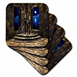3dRose cst_11660_3 A Medieval Castle Interior with Stone Walls, Arched Windows Ceramic Tile Coasters, Set of 4
