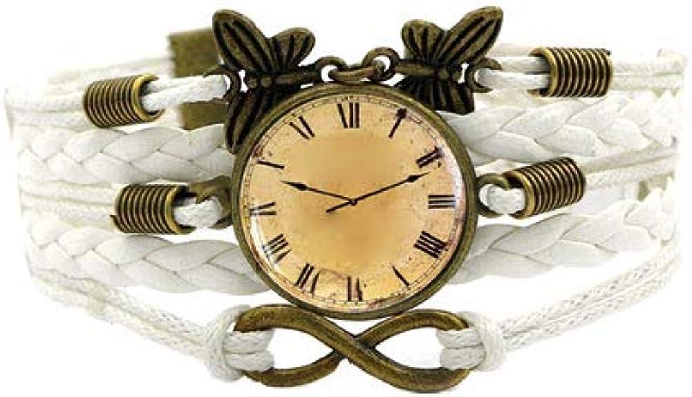 Las mujeres de Bohemia del reloj del estilo reloj de cuarzo analógico con múltiples capas de cuero tejido a mano pulsera de cadena trenzada Brazalete con cuentas de piedras preciosas sintéticas -